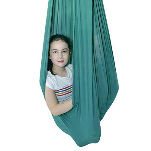 ZCXBHD Therapieschaukel für Kinder und Jugendliche Indoor Cuddle Hammock Ideal Autismus ADHD Asperger und Sensorische Integration Snuggle Schwingen Hängematten (Color : Green, Size : 280 x 100 cm)