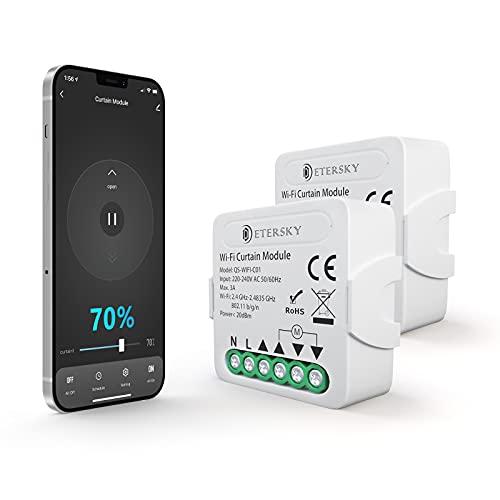 Smart Rolladenschalter mit Prozentfunktion, Etersky WiFi Rolladen Zeitschaltuhr Relais Modul, Kompatibel mit Alexa Google Home, APP Steuerung Smart Home, Wlan Schalter für Rolladenmotor Vorhang