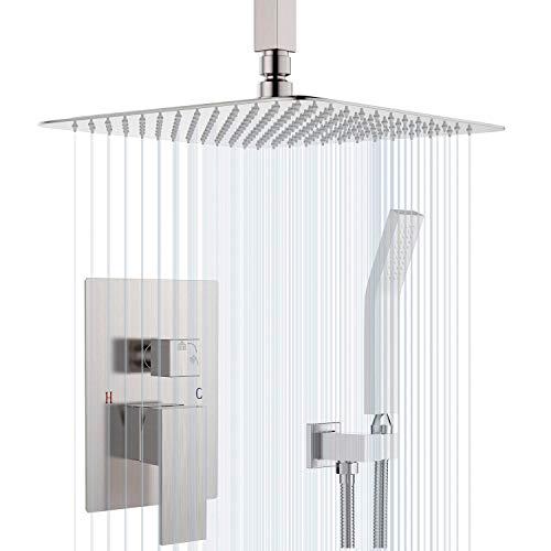 Sistema de ducha de techo con cabezal de ducha de níquel cepillado para baño, grifo de ducha de lluvia montado en el techo incluido áspero en el cuerpo de la válvula del mezclador y el ajuste
