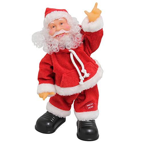 lux.pro Babbo Natale Che Canta e Balla 31cm - Decorazione Natalizia Modellino Musicale di Santa Claus Che Si muove Natale Santa Claus - Babbo Natale Che Canta e Balla della ditta