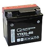 Q-Batteries Motorrad-Batterie YTX5L-BS 50412 AGM 12V 4Ah 70A