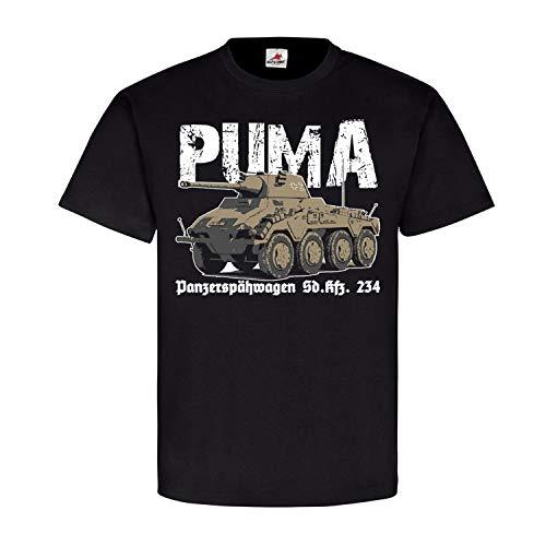 Panzerspähwagen Puma SdKfz 234 8 Rad Panzer Normandie Kanone - T Shirt #25416, Größe:XL, Farbe:Schwarz