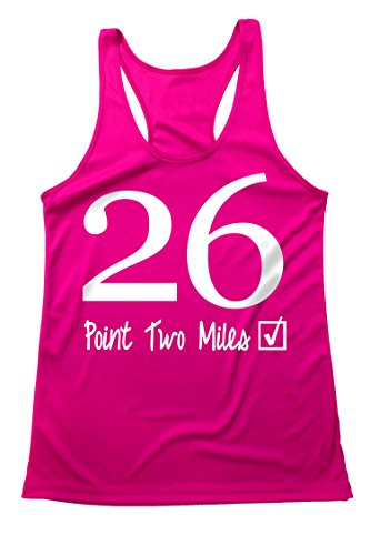 Quick-Dri Running Tank top - 26.2 Miles Marathon - Moisture Wicking - Light Weight - Flow fit Hot-Pink-White