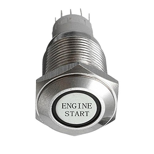 Supmico momentané 19mm rouge LED lumière lampe 12V bouton poussoir voiture métal interrupteur momentané Lumière intérieure Engine Start