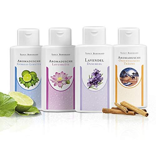 Sanct Bernhard Aromaduschen Set Ginkgo-Limette, Lotusblüte, Lavendel, Orientalische Träume 4 x 250 ml
