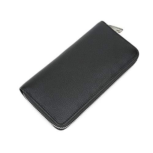 Herenportemonnees, lange lederen portemonnee voor heren, casual rits top leer, zwart met grote capaciteit, grote kaartportemonnee