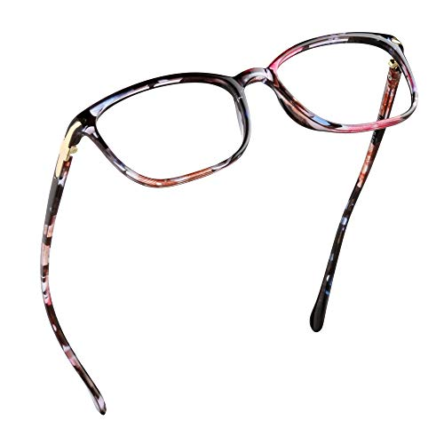 LifeArt Blaulicht-Schutzbrillen, Computer-Lesebrillen, Spielbrillen, TV-Brillen für Frauen, Männer, Blendschutz (Pinke Blume, 1.25 Vergrößerung)
