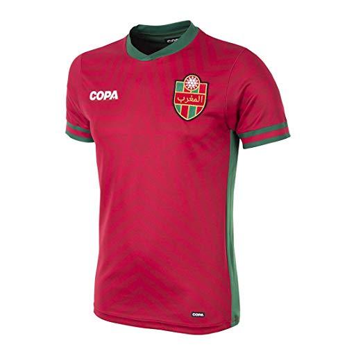 Copa Herren Marokko Fußballtrikot Fußball Rundhals T-Shirt M rot