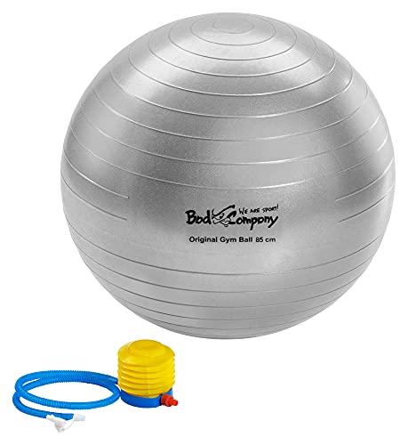Bad Company Gymnastikball I Anti-Burst-System Fitnessball mit Ballpumpe und Zwei Ventilverschlüssen I Größe 85 cm