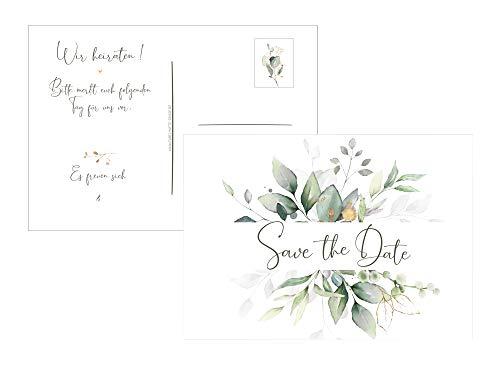 Save the Date Postkarten Hochzeit Wir heiraten Einladung klassisches Design in grün-gold (25iger-Set)