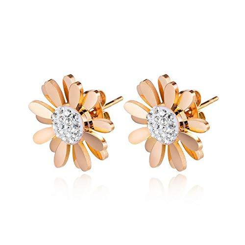 Pendientes elegantes margaritas pendientes para las mujeres de alta calidad titanio acero pendientes de las mujeres Accesorios Jewelrt regalo
