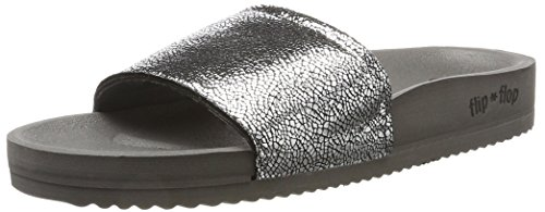 flip*flop Damen Pool Metallic Cracked Sandalen, Steel, 41 EU