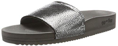 Flip*flopPool Metallic Cracked - Sandalias con Cuña Mujer, Color Negro, Talla 38
