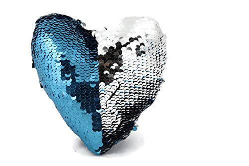 The Original Fidget - Aqua & Silver Heart Sequin Pillow Fidget Toy for Sensory Therapy to Relieve...