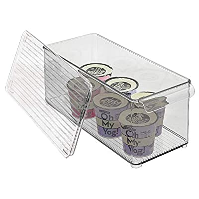mDesign Plastic Kitchen Food Storage Bin with Handle, Lid - Clear/Smoke Gray by