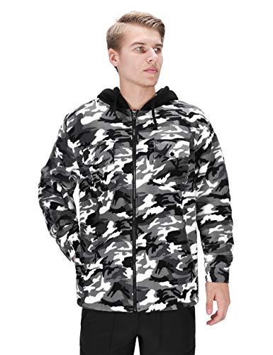 DISHANG Men's Hooded Fleece Jacket Warm Coat Full-Zip Military Army Camo Outerwear Tactical Outdoor Sweatshirts (Grey, XL)