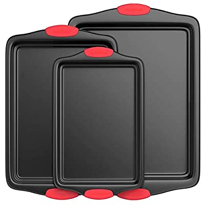Nutrichef Kitchen Oven Baking Pans-Deluxe Nonstick Gray Coating Inside & Outside Carbon Steel Bakeware Set With Red Silicone Handles (3-Pieces), Black