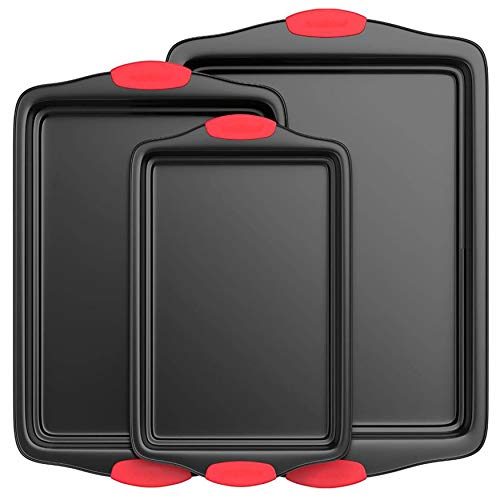 Nutrichef Non-Stick Kitchen Baking Pans w/Heat Red Silicone Handles, Oven Safe, 3 Piece Set
