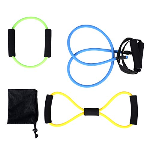 ATHLDYN Resistance Band Set 3 Pieces- Exercise Tube Band, Figure 8 Toner Resistance Band, Circle O-Ring Loop Exercise Cords for Physical Therapy, Home Workouts, Pilates,Yoga