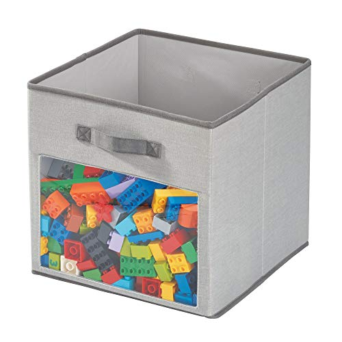 iDesign stoffen box, grote opbergdoos van katoen-polyester mix met 2 handgrepen, klep en deksel, opvouwbare opbergbox voor kast, slaap- en kinderkamer, grijs