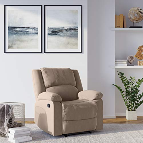 Relax A Lounger with Gel-Infused Memory Foam and Pocket-Coil Design Logan Leather Reclining, Comfortable Living Room, Office, or Bedroom Chair, 36' W x 38.19' D x 39.37' H, Beige