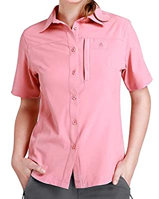 CAMEL CROWN Hiking Shirt Women Short Sleeve Outdoor Shirts with UV Protection for Work Outdoor Hiking Fishing Coral Pink