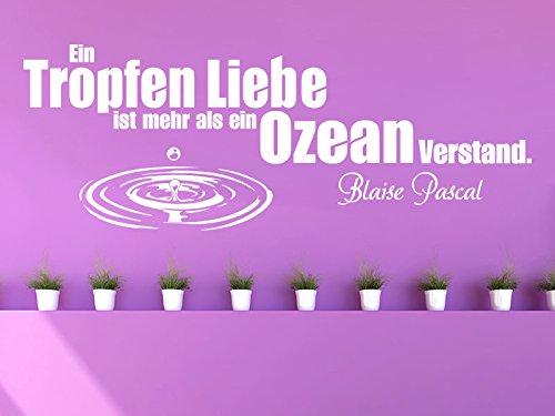 Klebeheld® Wandtattoo EIN Tropfen Liebe ist mehr als EIN Ozean Verstand. (Farbe türkis/Größe 100x37cm)