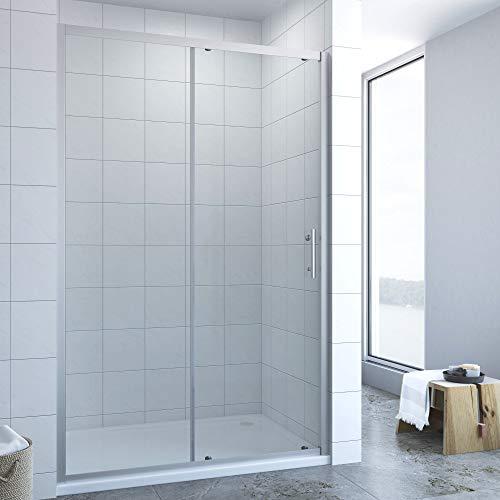AQUABATOS® 140cm breit Duschtür Schiebetür mit Einfaches Rollen Befestigungssystem, Nischentür Nischenschiebetür Duschabtrennung Duschwand Glas Dusche aus 6mm ESG Echtglas Höhe 185cm