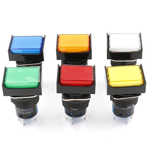 Heschen Interruptor de botón rectangular de cierre de 16 mm 1NO 1NC rojo, azul, amarillo, blanco, verde, naranja, 12 V lámpara LED