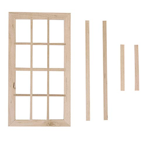 lamta1k Puppenhausfenster,Puppenhaus Miniatur 12 Pane Blank Fensterrahmen im Maßstab 1:12 DIY Schlafzimmer Zubehör