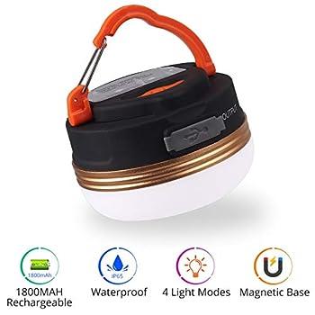 Lampe de Camping à LED Lampe de Tente LED Rechargeable USB avec Magnétique lanterne de Camping en Plein Air à 4 Modes pour la Randonnée, le Camping, les Urgences, les Pannes