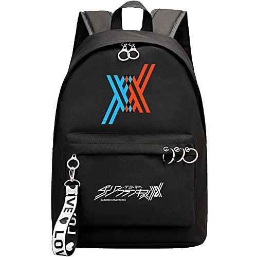 ZZGOO-LL Darling in The FRANXX with Chain USB Bolsa de Hombro Mochila para Exteriores para un montón de Almacenamiento Bolsa Unisex Black-B