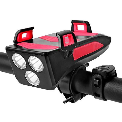 Luci Bicicletta LED, Ricaricabili USB 4 in1 Impermeabile Luce per Bicicletta con Clacson Bici & Porta Cellulare da Bici & 4000 mah Power Bank, Fanale Anteriore Bicicletta Facile Installazione (Rosso)