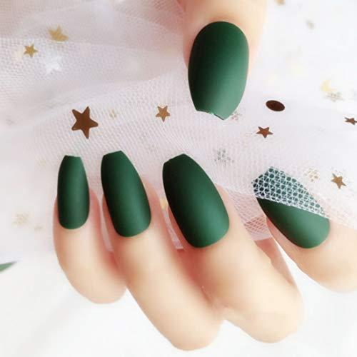 Umillars 24pcs Pure Color Coffin Nails Matte False Gel Nails Art Tips Sets Full Cover Medium False Nails for Ballerina Cosplay Office Lady (Olive green)