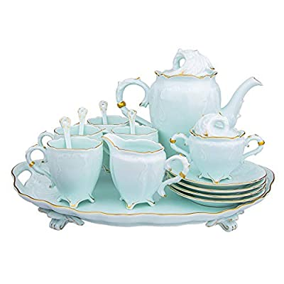 FEIYABDF 16 pieces of European ceramic coffee cup set, Tea Pot,Bone China Cups Matching Spoons,Afternoon Tea Set Service Coffee Set, ceramic tea set, best gift (A)