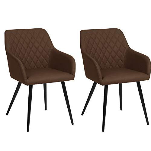 Nimara Thor Set van 2 kunstleren stoel met armleuning, lederen stoelen met armleuning, stoel, Scandinavisch design, armleunstoel, eetkamerstoelen voor de eettafel donkerbruin