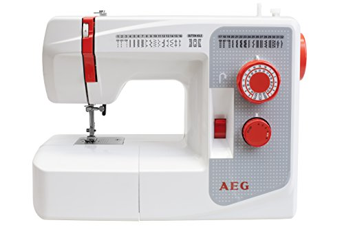 AEG AEG-3200 Máquina de Coser, plástico/Metal, Weiß/Rot/Grau, 39 x 30.5 x 17.5 cm