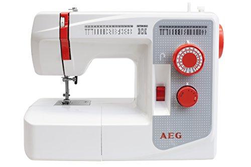 AEG Nähmaschine, Kunststoff, Metall, weiß/rot/grau, 39 x 30.5 x 17.5 cm