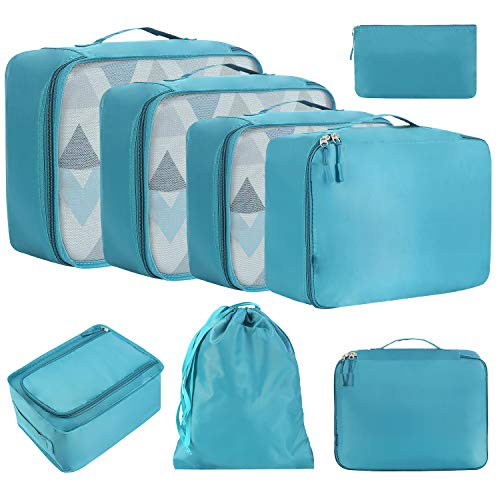 Amazon Brand - Eono Organizer Valigia Set di 8, Cubi da Viaggio, Cubi di Imballaggio Organizer Valigia Essential Organizer Borse da Viaggio Impermeabili Sacchetto da Viaggio Packing Cubes - Teal Blu