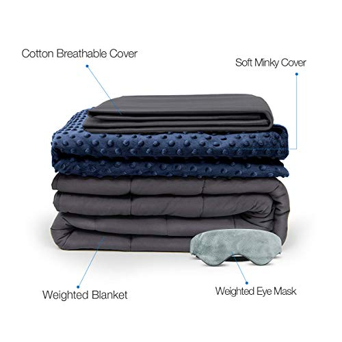 BUZIO 10lbs Weighted Blanket 4 Piece Set with 2 Removable Duvet Covers & 1 Weighted Sleep Mask, Heavy Blanket for Hot & Cold Sleepers - Kids or Adults (41 x 60 inches, Navy Blue)