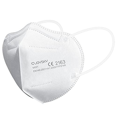 JOYSKY Mascarillas Faciales Desechables FFP2, 20pcs Mascarilla de Protección de 5 Capas, Mascara de Filtración Multicapa Antipolvo para Boca y Nariz, Blanco