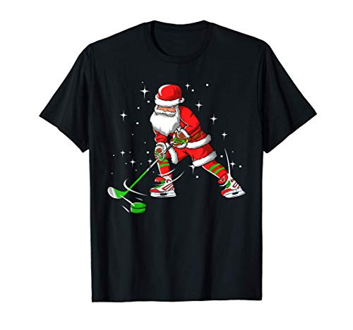Funny Santa Claus Christmas Ice Hockey Christmas Xmas Gift T-Shirt