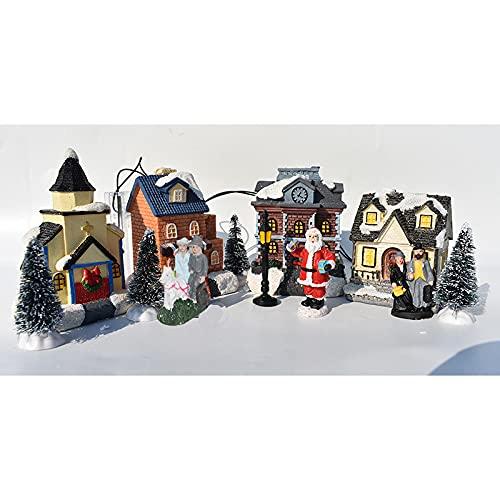 Chahu 10 piezas luminosas casa de juguete decoraciones de Navidad pequeña casa ornamento Santa Claus Set regalo para niños
