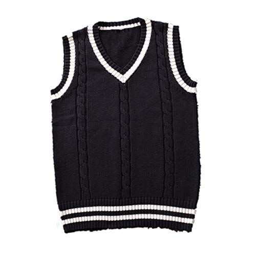 Maglione a maglia da donna con scollo a V Nero L