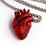 Anatomical Heart Necklace Medical Gift Realistic Red Human Heart Pendant