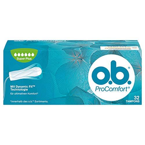 o.b. ProComfort Super Plus Tampons, mit Dynamic Fit Technologie und SilkTouch Oberfläche Für ultimativen Komfort (innerhalb des o.b. Sortiments) und zuverlässigen Schutz, 1er Pack (1 x 32 Pack)