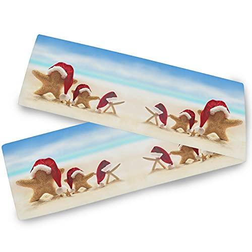 Oarencol Camino de mesa familiar con estrellas de mar de mar de verano, playa, sombrero de Papá Noel, Navidad de 33 x 228 cm, cubierta de mesa para cocina, fiesta, vacaciones, comedor, hogar a diario