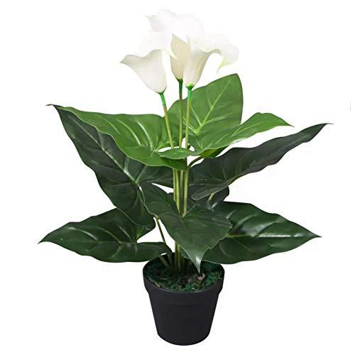 SOULONG Künstliche Calla Lilie Kunstblume Topfpflanzen Dekoration Real Touch Blumen 45 cm weiß