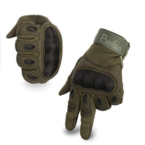 guanti caccia BeiLan Gomma Dura Knuckle Full Finger Gloves Guanti di Protezione Touch Screen Guanti per Moto Ciclismo Caccia Arrampicata Camping (XL)