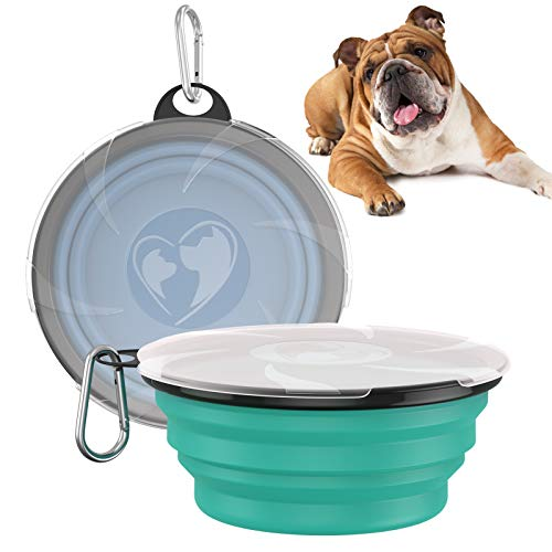 VavoPaw Collapsible Dog Bowl, [2 Pack] 1000ML Large Capacity Collapsable Silicone Pet Bowl for Dog/Cat Water Food Feeding, Portable Travel Pet Bowl for Traveling Camping, Lake Blue+Turquoise Green